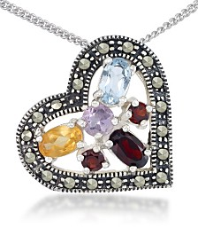"Multi-Color Stones &  Marcasite Floating Heart Pendant on 18"" Chain in Sterling Silver"