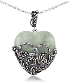 "Green Jade (24 x 24mm) & Marcasite Heart Pendant on 18"" Chain in Sterling Silver"