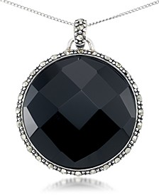 """Faceted Onyx (28 x 5mm) & Marcasite Medallion Pendant on 18"""" Chain in Sterling Silver"""