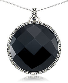 "Faceted Onyx (28 x 5mm) & Marcasite Medallion Pendant on 18"" Chain in Sterling Silver"
