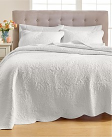 Martha Stewart Collection Stenciled Leaves Quilt and Sham Collection, Created for Macy's