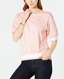 Tommy Hilfiger Puff-Sleeve Ribbed Top, Created for Macy's