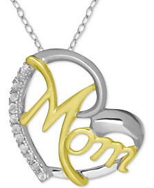 """Diamond Mom Heart 18"""" Pendant Necklace (1/10 ct. t.w.) in Sterling Silver & 18k Gold-Plate"""