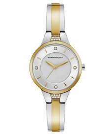 BCBGMAXAZRIA Ladies Two Tone Bangle Bracelet Watch with Silver Dial, 32mm