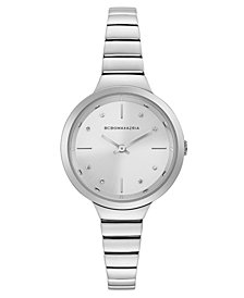 BCBG MaxAzria Ladies Silver Bracelet Watch with Silver Dial, 34MM