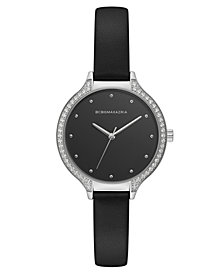 BCBG MaxAzria Ladies Black Leather Strap Watch with Black Dial and Silver Case, 34MM