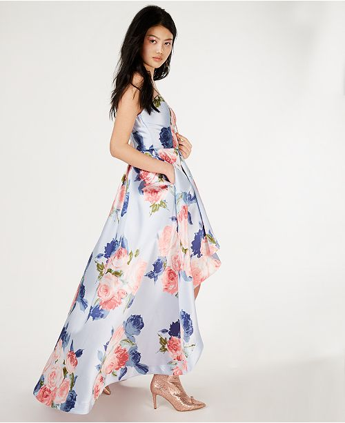 63b7bf7ae7b Speechless Juniors  Strapless Allover-Floral High-Low Gown