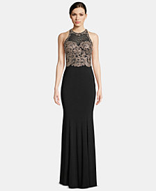 X by Xscape Petite Embroidered Illusion Gown