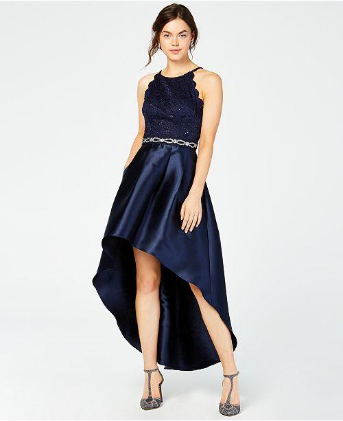 BCX Juniors' Sparkle Lace Rhinestone High-Low Dress