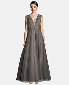 XSCAPE Embroidered V-Neck Gown
