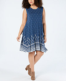 Style & Co Plus Size Printed Swing Dress, Created for Macy's