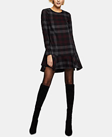 BCBGeneration Cotton Plaid A-Line Dress