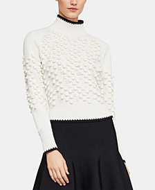 BCBGMAXAZRIA Popcorn-Stitch Mock-Neck Sweater