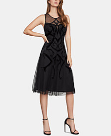 BCBGMAXAZRIA Illusion Velvet-Appliqué A-Line Dress