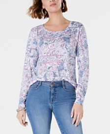Style & Co Paisley-Print Long-Sleeve Top, Created for Macy's