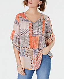 Style & Co V-Neck Pleated Peasant Top, Created for Macy's