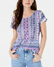 Style & Co Printed Dolman-Sleeve Top, Created for Macy's