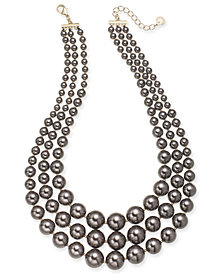"""Charter Club Gold-Tone Graduated Imitation Pearl Triple-Row Collar Necklace, 18"""" + 2"""" extender, Created for Macy's"""