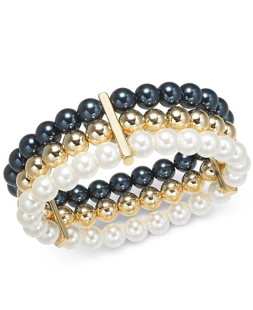 Charter Club Multi-Imitation Pearl Triple-Row Stretch Bracelet, Created for Macy's