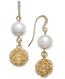 Charter Club Gold-Tone Textured & Imitation Pearl Double Drop Earrings, Created for Macy's
