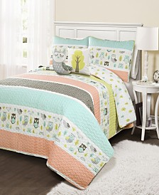 Owl Stripe 4-Pc Set Twin Quilt Set