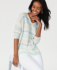 Charter Club Cashmere Striped Sweater, Created for Macy's