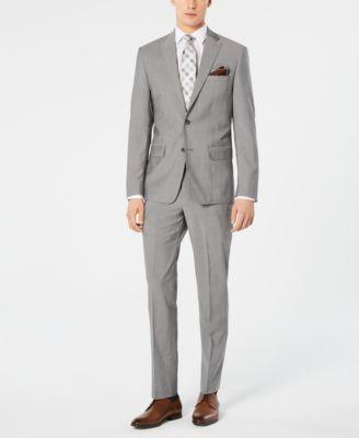 Men's Modern-Fit Stretch Light Gray Suit Pants