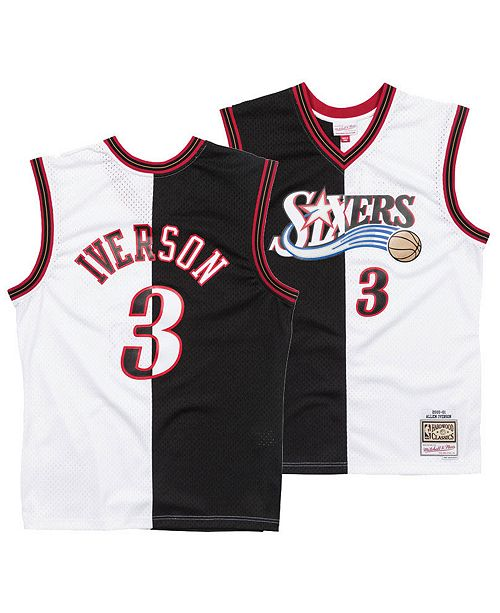 huge discount 6c5d8 17195 Men's Allen Iverson Philadelphia 76ers Split Swingman Jersey