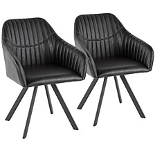 Clubhouse Pleated Chair in Faux Leather Set of 2