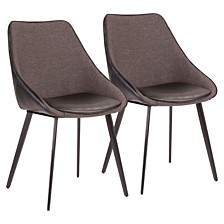 Lumisource Marche TwoTone Chair in Faux Leather and Fabric Set of 2