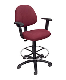 Boss Office Products Contoured Comfort Drafting Chair with Arms