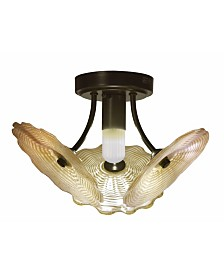 "Dale Tiffany Beige Feather 15""W Hand Blown Art Glass Semi Flush Mount"