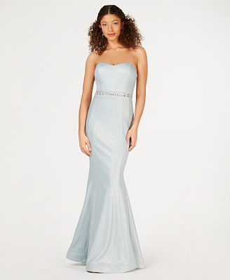 Teeze Me Juniors' Strapless Glitter-Knit Mermaid Gown