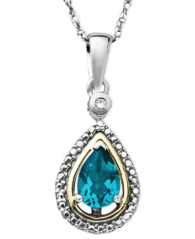 14k Gold and Sterling Silver Necklace, Blue Topaz (3/4 ct. t.w.) and Diamond Accent Teardrop Pendant