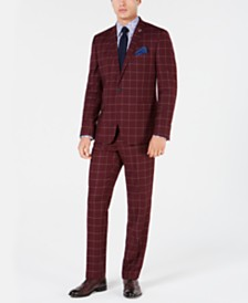 Nick Graham Men's Slim-Fit Windowpane Suit