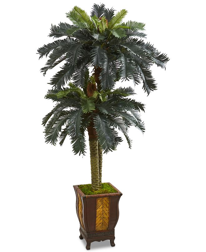 Nearly Natural 6' Double Sago Palm Artificial Tree in Designer Planter