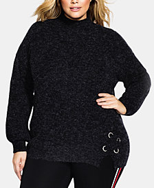 City Chic Trendy Plus Size Eyelet-Trim Sweater