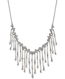 """I.N.C. Silver-Tone Crystal Shaky Statement Necklace, 17"""" + 3"""" extender, Created for Macy's"""