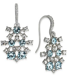 I.N.C. Silver-Tone Crystal & Stone Drop Earrings, Created for Macy's