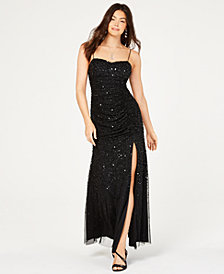 Adrianna Papell Beaded Shirred Gown