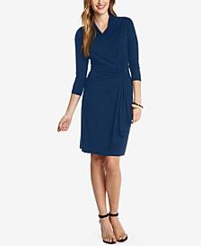 Three-Quarter-Sleeve Faux-Wrap Dress