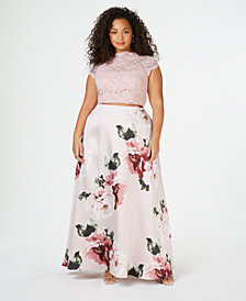 City Studios Trendy Plus Size 2-Pc. Printed Lace Gown