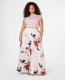 City Studios Trendy Plus Size 2-Pc. Printed Lace Gown