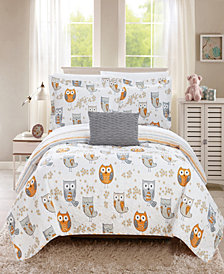 Chic Home Owl Farm 4 Piece Full Quilt Set