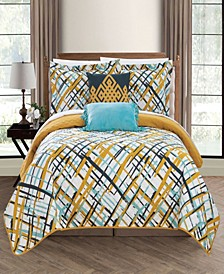 Gingham 5 Piece Full Quilt Set