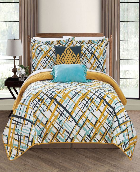 Chic Home Gingham 5 Piece Full Quilt Set