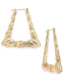 Gold-Tone Bamboo Triangle Medium Hoop Earrings , Created for Macy's