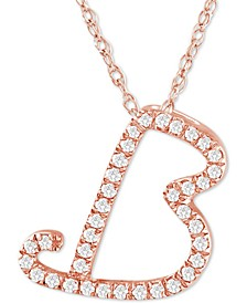 """Diamond Initial Pendant Necklace (1/10 ct. t.w.) in 14k Rose Gold Over Sterling Silver, 16"""" + 2"""" Extender"""