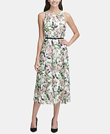 Tommy Hilfiger Belted Floral-Print Midi Dress