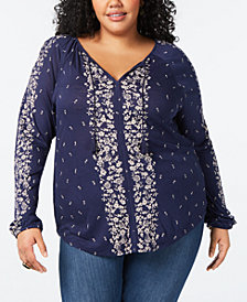 Lucky Brand Plus Size Border-Print V-Neck Top
